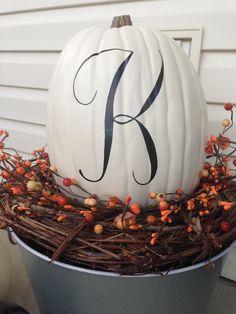 Monogram Pumpkin, Painted Pumpkin, Fall Decorations