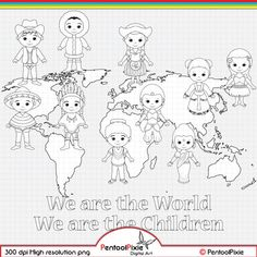 Children around the World Digital Stamp clipart World image 1 Around The World Theme, Kids Around The World, We Are The World, Around The Worlds, World Bulletin Board, New Year Coloring Pages, Conception Web, Cultural Crafts, Girl Scout Activities