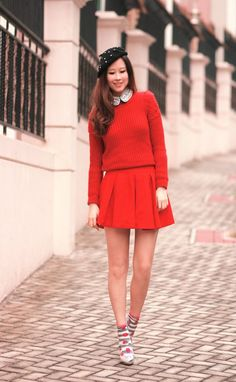 Such a cute combination of red! #style
