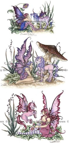 3 Fairy Horses MiniPrint Set by Amy Brown by AmyBrownArt on Etsy, $8.95