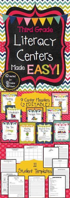 *NEW DESIGN!* Third Grade Literacy Centers Made EASY!