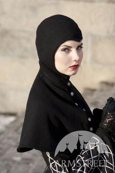 Manteau long gothique de laine avec capuche Merle noir