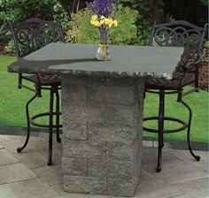 """Cambridge Pre-Packaged Patio Pub & Bistro Table Kits Choose from two styles - Olde English Wall and MaytRx Wall. Both come with a 48"""" x 48"""" polished granite top in either Black Uba Tuba or Venetian Gold with a 2"""" diameter hole pre-drilled for an umbrella (not included). Seats up to eight people."""
