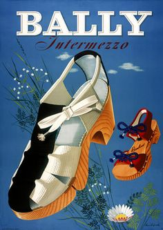 Vintage 1940s Bally summer sandals ad. #vintage #fashion #shoes