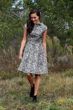 B&W Knee Length Fit & Flare Icicle Dress