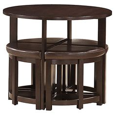space saving bar table set with 4 nesting stools upholstered in faux leather product