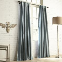Pier 1 Imports Enmore Satin Striped Curtain ($126) ❤ liked on Polyvore featuring home, home decor, window treatments, curtains, teal, striped curtains, teal window treatments, teal green curtains, stripe window curtains and teal curtains