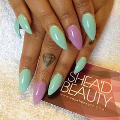 Pastel blue and lavender pointy nails