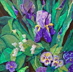 """""""Purple Iris"""" is a mixed media collage with many Gelli Plate printed papers."""