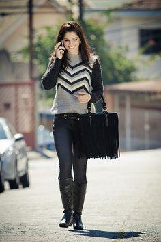 Blusa preta, zinca e cru Romantic #ModaInverno #trico #CoatsCorrente