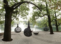 "Exclusive basalt fiber hanging chair for garden, patio or indoors - genuine ""thinking pod"". Light and damn elegant. Each chair is handmade – unique, safe and sturdy. Furniture Making, Garden Furniture, Furniture Design, Outdoor Furniture, Basalt Fiber, Garden Pods, Colorful Pillows, Garden Seating, Landscape Architecture"