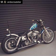 #Repost @andsonsatelier with @repostapp. #andsons #harley #harleydavidson #chopper #chopperlife #chopperporn #bobber #bobberporn #vintage #custom #garagebuild #garagechopper #ftw by chopperchrash