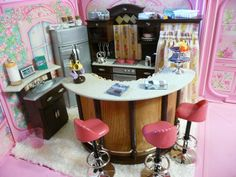 OOAK Barbie Kitchen Dining Room House Diorama Furniture Lot Food Dishes Pantry | eBay