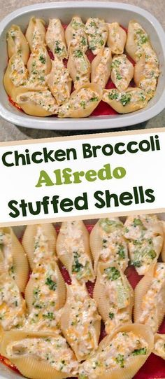 Chicken and Broccoli Alfredo Stuffed Shells are pasta shells filled with cheesy shredded chicken and broccoli and smothered in a homemade alfredo sauce.