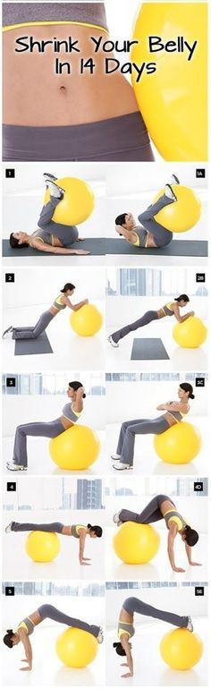 I love ball exercises. Shrink Your Belly In 14 Days Routine will firm and flatten you from all angles in just 2 weeks. Amp up results using a combination of ball exercises with high-energy cardio and simple calorie-cutting tips. In 2 weeks, you could lose Fitness Workouts, Fitness Motivation, Sport Fitness, Fitness Diet, At Home Workouts, Health Fitness, Yoga Fitness, Fitness Plan, Exercise Motivation