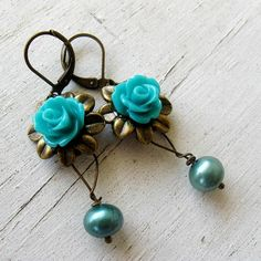 Vintage Antique Bronze Flower Charm Freshwater Teal by MystiqueCat, $16.00