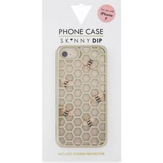 Skinny Dip Bee honeycomb iPhone 7 case (£18) ❤ liked on Polyvore featuring accessories, tech accessories, iphone stud case, iphone cover case, metallic iphone case, iphone cases and apple iphone case