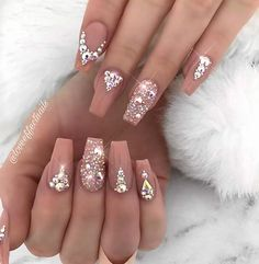 63 Different Ways to Wear Nude Nails This Year Swarovski Nails, Crystal Nails, Rhinestone Nails, Bling Nails, Swag Nails, 3d Nails, Bling Nail Art, Dark Nude Nails, Gold Glitter Nails