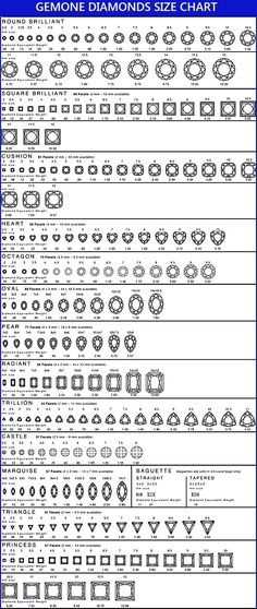 Gemone Diamond Diamond Size Chart for Round, Square, Cushion, Heart, Oval, Marquise and Princess Cut Diamonds. Check Our Carat Versus mm Size.