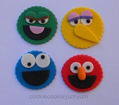compromiso de cumpleaños boda ducha del bebé 12 comestibles sésamo mixto calle oscar elmo cookie monster pájaro grande Magdalena pastel topper decoraciones