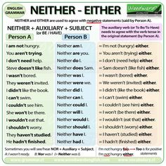 NEITHER - EITHER #learnenglish