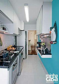 Cozinha estreita, modelo de bancada