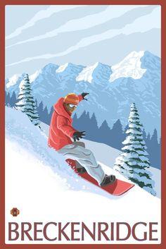 Breckenridge, Colorado - Snowboarderÿ - Lantern Press Artwork