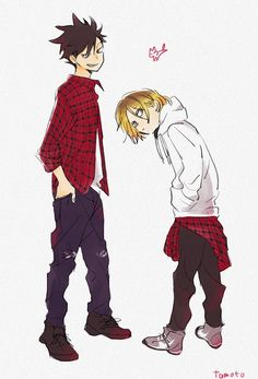 Kenma and Kuroo wearing plaid!! I love when guys wear plaid!! Especially when they roll the sleeves up!