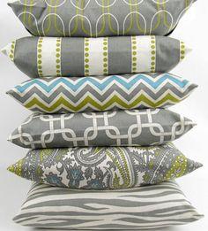 Gray Pillow Cover 24x24 inch Euro throw cushion sham gray citrine green blue chevron paisley chain link zebra stripe geometric FREE SHIP