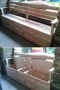 Wood Profits - fabriquer banc jardin avec rangement Fabriquer un banc Comment fabriquer un banc en bois? Discover How You Can Start A Woodworking Business From Home Easily in 7 Days With NO Capital Needed! Pallet Crafts, Diy Pallet Projects, Pallet Ideas, Home Projects, Woodworking Projects, Teds Woodworking, Pallet Boxes, Wooden Crafts, Pallet Diy Decor