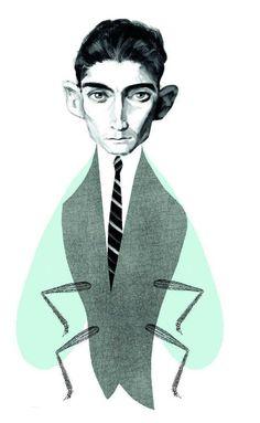 Franz Kafka, writer, by Francisco Javier Olea Book Cover Design, Book Design, Teaching Literature, Bug Art, Portrait Illustration, Portrait Art, Portraits, Archetypes, Famous Faces