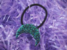 Pastel Goth Midnight Moon Hair Tie / Glittery by VintageLoser