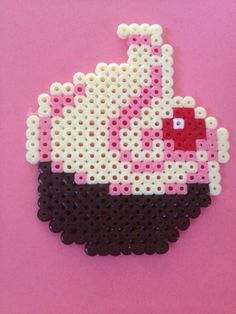 pink swirl cupcake hama beads by TheMissBlue