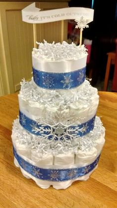 Winter wonderland baby shower baby its cold outside diaper cake blue boy