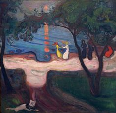 Edvard Munch (1863 - 1944) Dancing on a Shore 1900 Oil on canvas  Seen in the Centre for Modern and Contemporary Art, Veletrzni (Trades Fair) Palace, Prague.