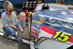 Lorra Bowyer, wife of Clint Bowyer, and son Cash. Michael Waltrip, Nascar Live, Clint Bowyer, Nascar News, Mother's Day Photos, Fox Sports, Nascar Racing, Sons, Photo Galleries