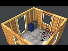 Dunzik Holz-Systembauplatten 3D Geräteschuppen