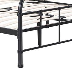 IKAYAA Contemporary Metal Platform Bed Frame With Wood Slats for Full/Queen/King/California Sized Mattress Foundation + Headboard & Footboard Bedroom Furniture