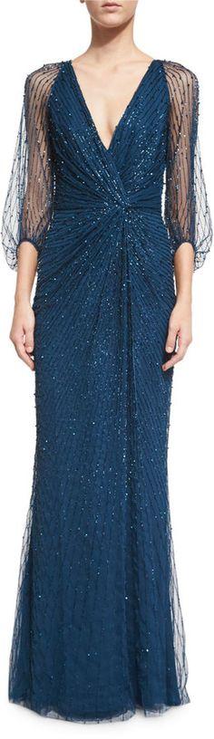Jenny Packham 3/4-Sleeve Embellished Wrap Gown, Abusson Blue