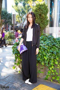 Harajuku Model in Bershka Jacket, Wide Leg Pants & Studded Purple Clutch Harajuku Girls, Harajuku Fashion, Japan Fashion, Fashion 2018, Japanese Street Fashion, Alternative Fashion, Street Style Women, Wide Leg Pants, Fashion Brand