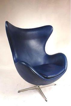 Blauer Dänischer Egg Stuhl von Arne Jacobsen für Fritz Hansen, 1950er 1