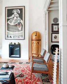 living room, rug, Danish mid-century chairs