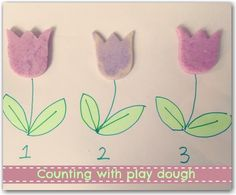 Number recognition and counting using play dough flowers