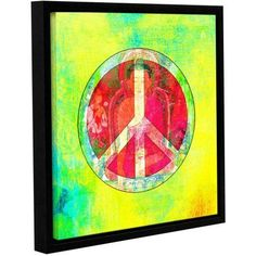 ArtWall Elena Ray Peace Sign Gallery-Wrapped Floater-Framed Canvas, Size: 36 x 36, Green