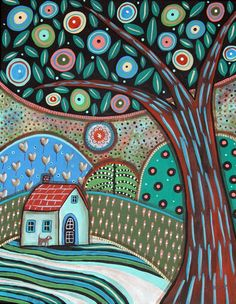 Summer Greens 11x14 inch ORIGINAL CANVAS PAINTING Folk Art ABSTRACT Karla Gerard..new painting for sale, ready to hang... #FolkArtAbstractPrimitive