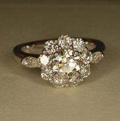 Handmade Art Deco Diamond Flower Engagement Ring 14k & by JdotC