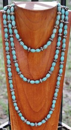 GUG Hand Strung Antique Turquoise Beaded Necklace with Copper Beads