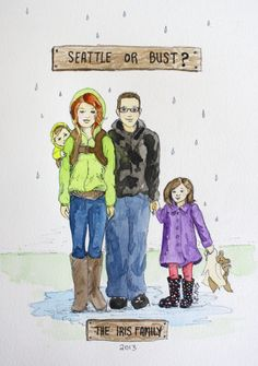 Custom Family Portrait. Illustrative style. Watercolor and ink. Four family members.