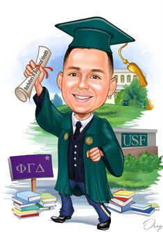 """The boy will be graduating from college but has also graduated from the ROTC program. I would like the graduated cartoon drawing with the cap & gown to be green with yellow. The diploma should read """"Bachelors in Biological Health"""". His gown is to be open to reveal his military uniform (Army Second Lieutenant). The University stone should read USF - University of South Florida."""