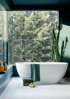 Stunning bathroom with amazing views. Cactus in the bathroom. Elegant & understated bathroom style - Formoso ClearStone Bath from Clearwater Baths.